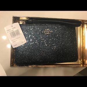 NWT Coach Star Glitter Wristlet in Midnight Blue